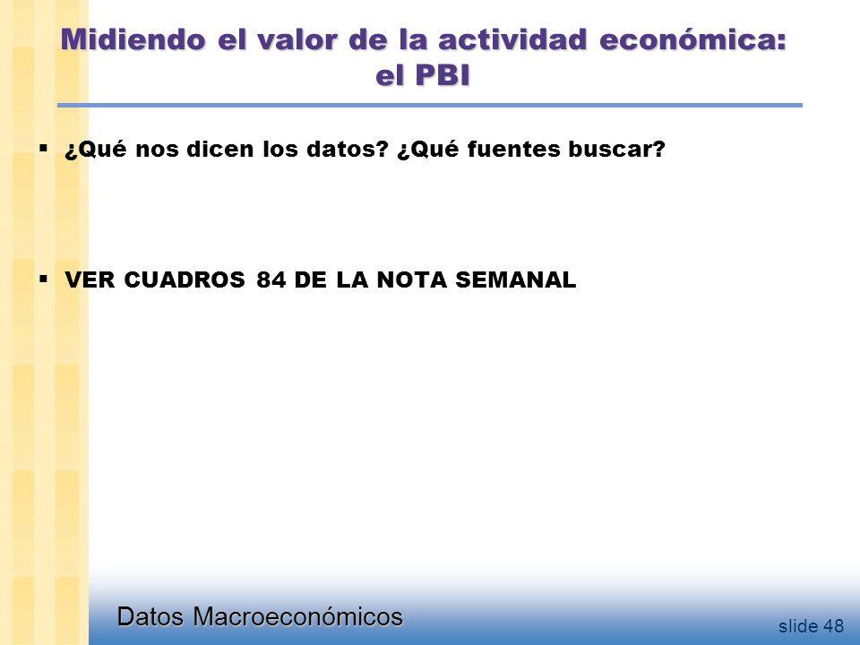 Datos Macroeconómicos slide 48 Midiendo el valor de la actividad económica: el PBI  ¿Qué nos dicen los datos.
