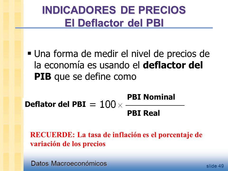 Datos Macroeconómicos slide 49 INDICADORES DE PRECIOS El Deflactor del PBI  Una forma de medir el nivel de precios de la economía es usando el deflactor del PIB que se define como Deflator del PBI PBI Nominal PBI Real RECUERDE: La tasa de inflación es el porcentaje de variación de los precios