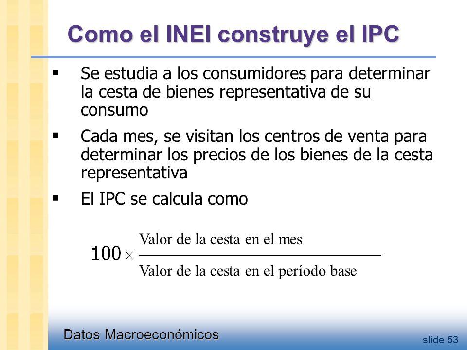 Datos Macroeconómicos slide 53 Como el INEI construye el IPC  Se estudia a los consumidores para determinar la cesta de bienes representativa de su consumo  Cada mes, se visitan los centros de venta para determinar los precios de los bienes de la cesta representativa  El IPC se calcula como Valor de la cesta en el mes Valor de la cesta en el período base