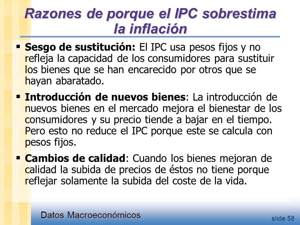 Datos Macroeconómicos slide 58 Razones de porque el IPC sobrestima la inflación  Sesgo de sustitución: El IPC usa pesos fijos y no refleja la capacidad de los consumidores para sustituir los bienes que se han encarecido por otros que se hayan abaratado.