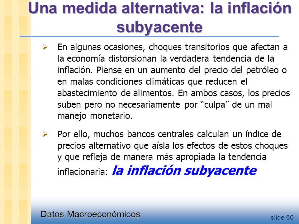 Datos Macroeconómicos slide 60 Una medida alternativa: la inflación subyacente  En algunas ocasiones, choques transitorios que afectan a la economía distorsionan la verdadera tendencia de la inflación.