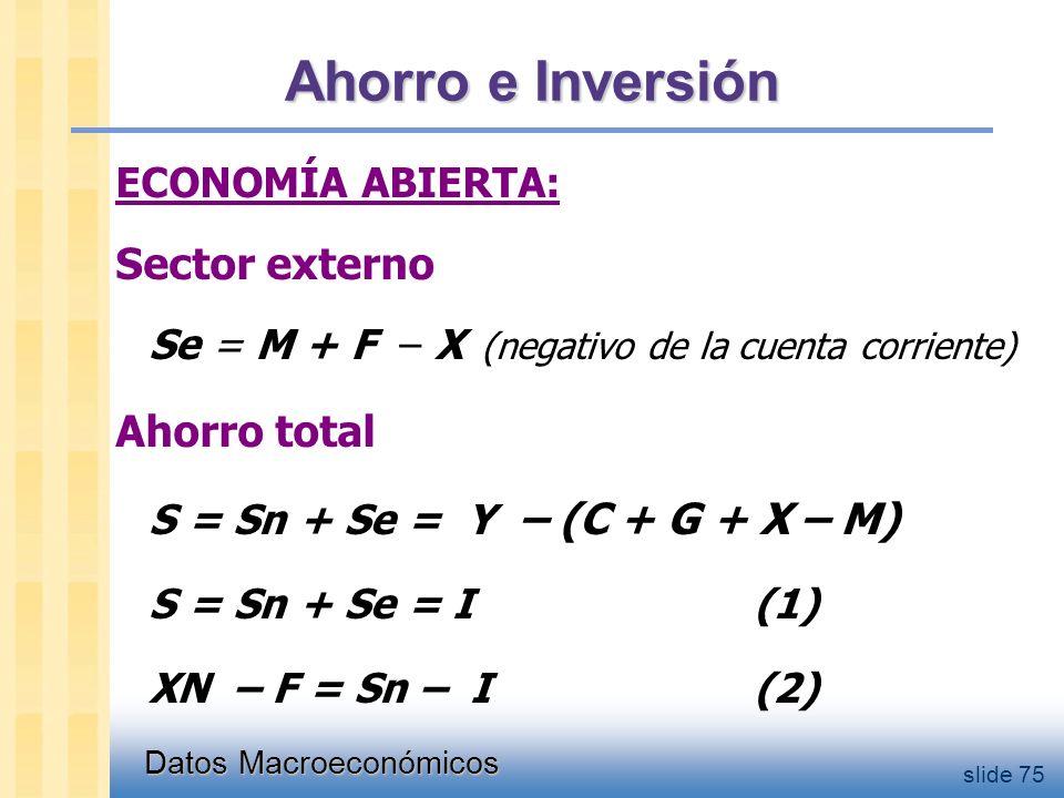 Datos Macroeconómicos slide 75 Ahorro e Inversión ECONOMÍA ABIERTA: Sector externo Se = M + F – X (negativo de la cuenta corriente) Ahorro total S = Sn + Se = Y – (C + G + X – M) S = Sn + Se = I(1) XN – F = Sn – I(2)