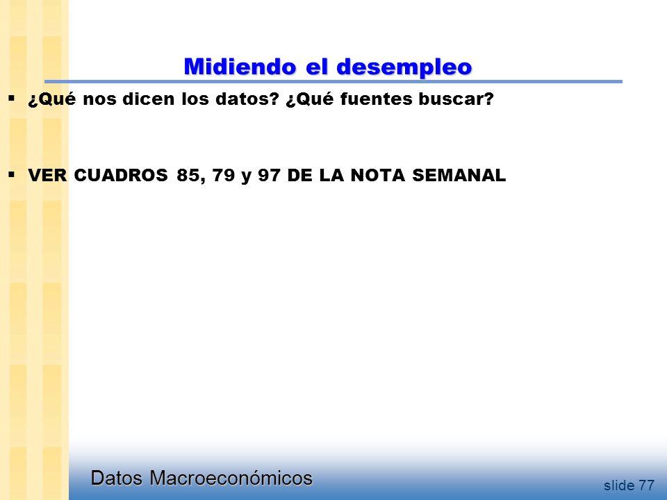 Datos Macroeconómicos slide 77 Midiendo el desempleo  ¿Qué nos dicen los datos.