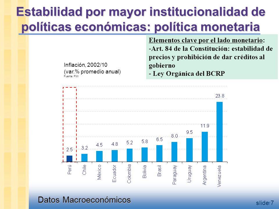 Datos Macroeconómicos slide 7 Estabilidad por mayor institucionalidad de políticas económicas: política monetaria Inflación, 2002/10 (var.% promedio anual) Fuente: FMI 7 Elementos clave por el lado monetario: -Art.