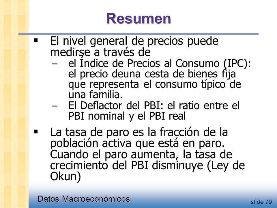 Datos Macroeconómicos slide 79  El nivel general de precios puede medirse a través de – el Índice de Precios al Consumo (IPC): el precio deuna cesta de bienes fija que representa el consumo típico de una familia.