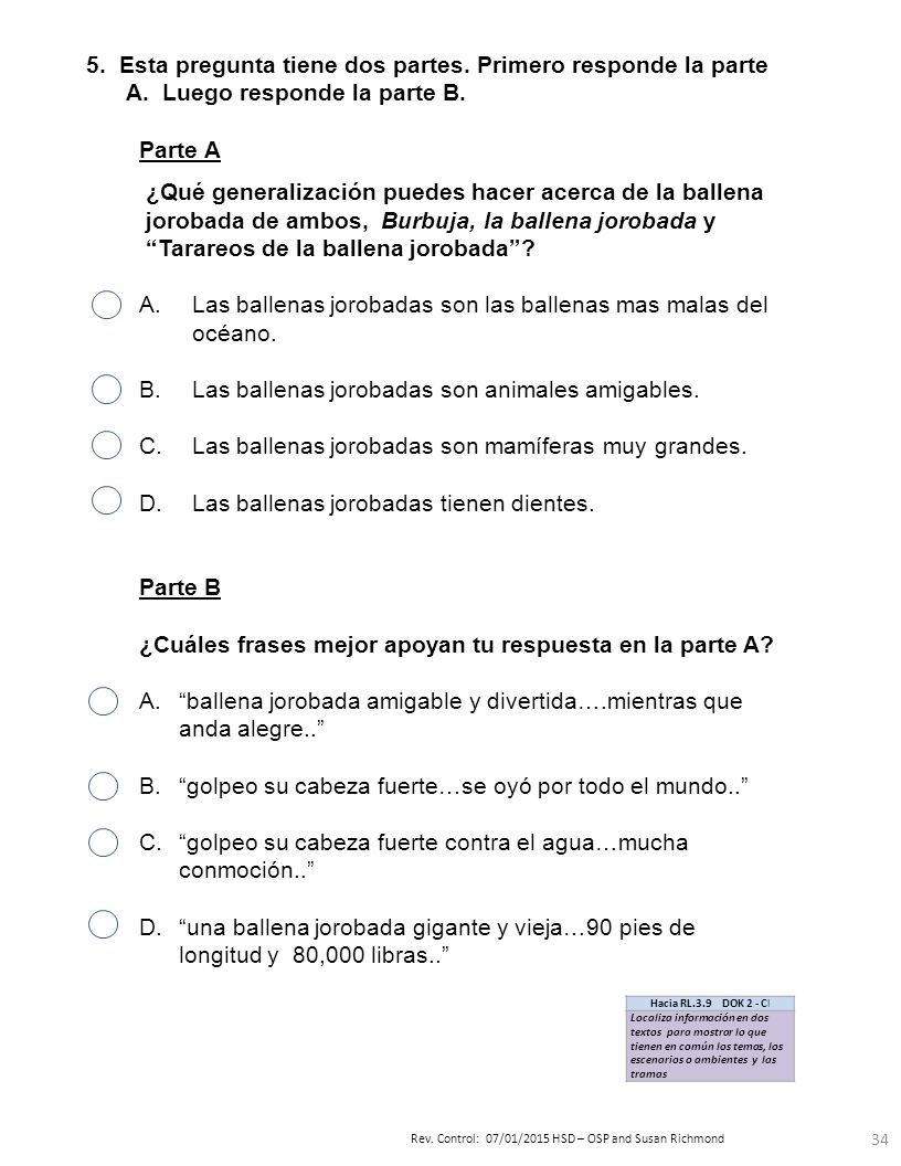 Pre-evaluación Trimestre 3 Instrucciones del maestro Grado Texto ...