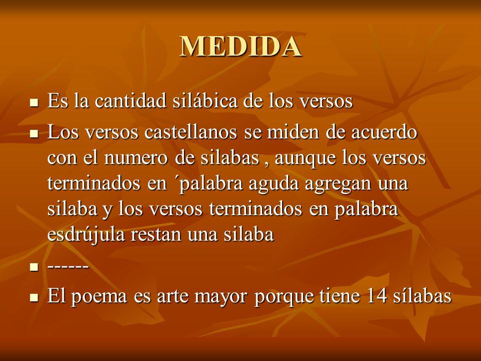 MEDIDA Es la cantidad silábica de los versos Es la cantidad silábica de los versos Los versos castellanos se miden de acuerdo con el numero de silabas, aunque los versos terminados en ´palabra aguda agregan una silaba y los versos terminados en palabra esdrújula restan una silaba Los versos castellanos se miden de acuerdo con el numero de silabas, aunque los versos terminados en ´palabra aguda agregan una silaba y los versos terminados en palabra esdrújula restan una silaba ------ ------ El poema es arte mayor porque tiene 14 sílabas El poema es arte mayor porque tiene 14 sílabas