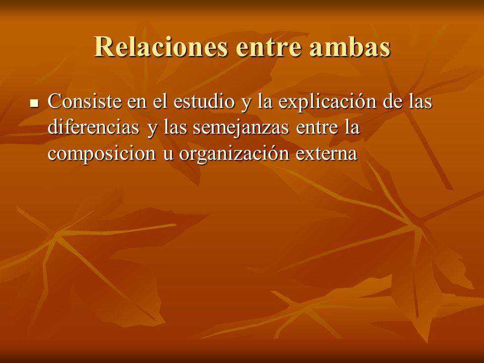 Relaciones entre ambas Consiste en el estudio y la explicación de las diferencias y las semejanzas entre la composicion u organización externa Consiste en el estudio y la explicación de las diferencias y las semejanzas entre la composicion u organización externa