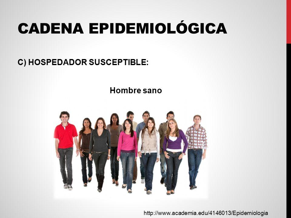 CADENA EPIDEMIOLÓGICA C) HOSPEDADOR SUSCEPTIBLE: Hombre sano http://www.academia.edu/4146013/Epidemiologia