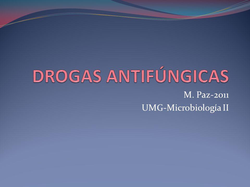 12 Azoles Inhiben síntesis de Ergosterol Atomos de N en anillo imidazólico 2 Imidazoles: Ketoconazol, Miconazol, Clotrimazol 3 Triazoles: Fluconazol, Itraconazol Menos impacto en la síntesis hormonal humana y menos hepatotoxicidad