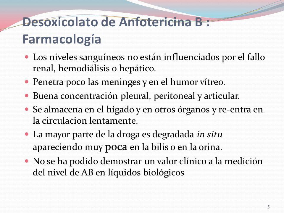 6 Desoxicolato de Anfotericina B : Indicaciones Buena respuesta Histoplasmosis Blastomicosis Paracoccidioidomicosis Candidiasis Criptococosis Peor respuesta Coccidioidomicosis Esporotricosis extra-articular Aspergilosis Mucormicosis.