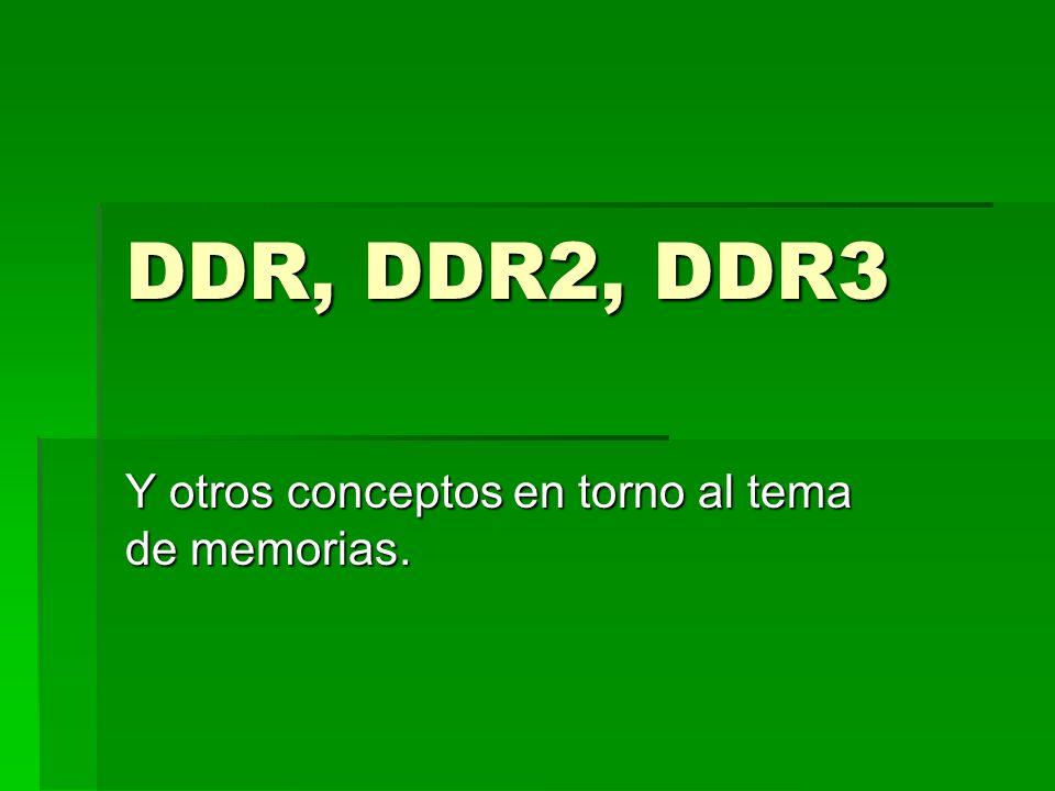 DDR Double Data Rate Double Data Rate En un ciclo son capaces de suministrar dos bytes por vía En un ciclo son capaces de suministrar dos bytes por vía DDR soportan un máximo de 1Gb DDR soportan un máximo de 1Gb http://es.wikipedia.org/wiki/DDR http://es.wikipedia.org/wiki/DDR http://es.wikipedia.org/wiki/DDR Nos aporta una información.