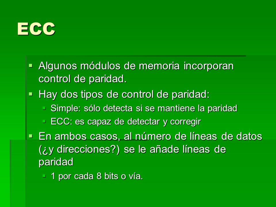 ECC Algunos módulos de memoria incorporan control de paridad.