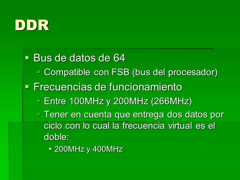DDR Bus de datos de 64 Bus de datos de 64 Compatible con FSB (bus del procesador) Compatible con FSB (bus del procesador) Frecuencias de funcionamiento Frecuencias de funcionamiento Entre 100MHz y 200MHz (266MHz) Entre 100MHz y 200MHz (266MHz) Tener en cuenta que entrega dos datos por ciclo con lo cual la frecuencia virtual es el doble: Tener en cuenta que entrega dos datos por ciclo con lo cual la frecuencia virtual es el doble: 200MHz y 400MHz 200MHz y 400MHz