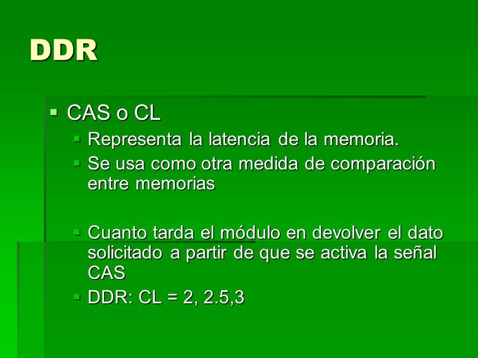 DDR CAS o CL CAS o CL Representa la latencia de la memoria.