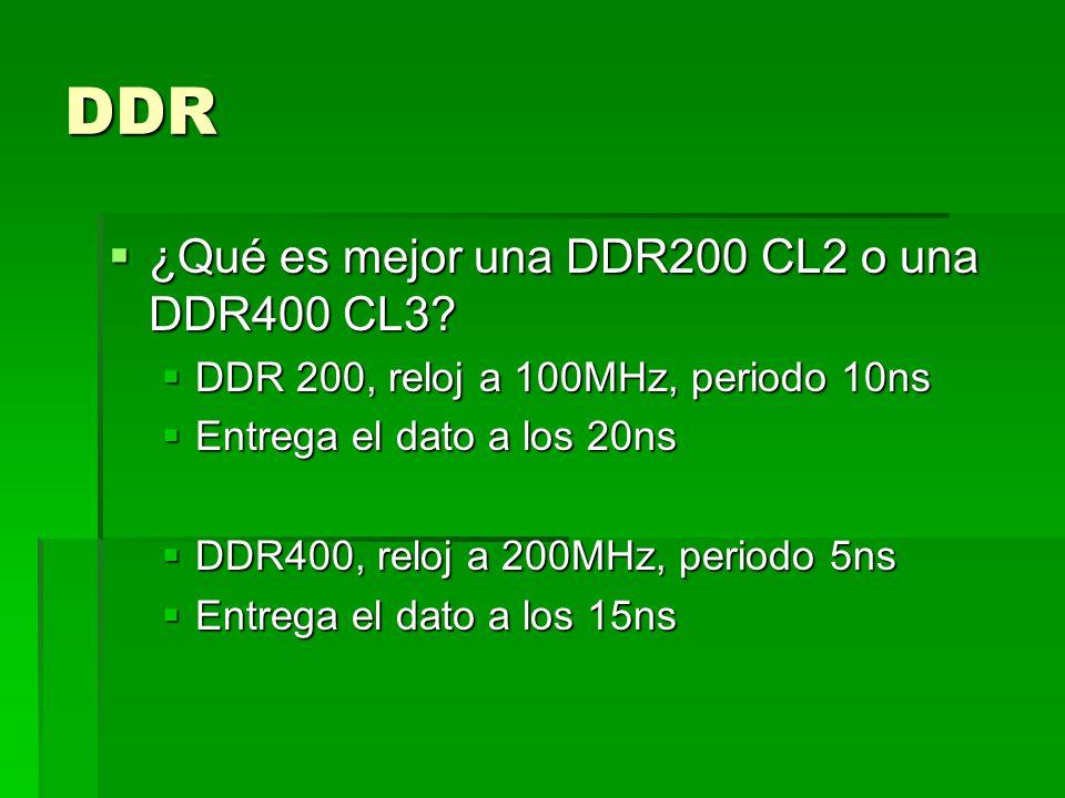 DDR DIMM (Dual Inline Memory Module) DIMM (Dual Inline Memory Module) Tamaño 184 pines Tamaño 184 pines Muesca (la muesca evita problemas de compatibilidad) Muesca (la muesca evita problemas de compatibilidad) Voltaje: Voltaje: <3v: 2.5v, 2.7v <3v: 2.5v, 2.7v Implica reducción de consumo, reducción de calor, lo que reduce problemas técnicos y ocasión para aumentar las frecuencias de funcionamiento interno.