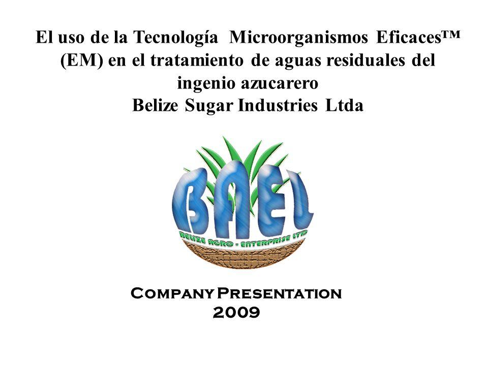 El uso de la Tecnología Microorganismos Eficaces (EM) en el tratamiento de aguas residuales del ingenio azucarero Belize Sugar Industries Ltda Company Presentation 2009