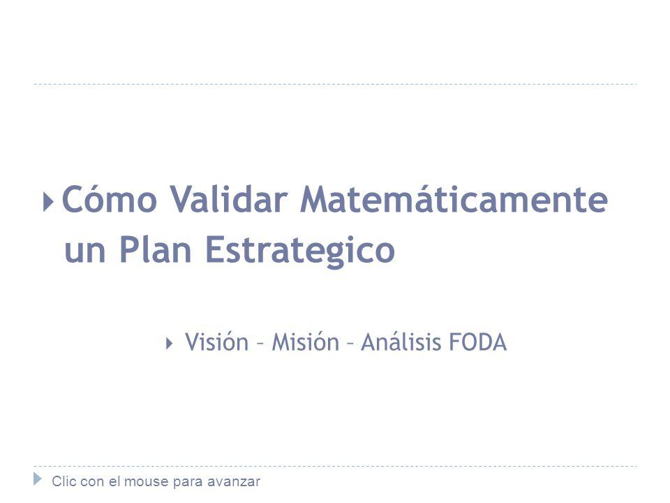 Cómo Validar Matemáticamente un Plan Estrategico Visión – Misión – Análisis FODA Clic con el mouse para avanzar