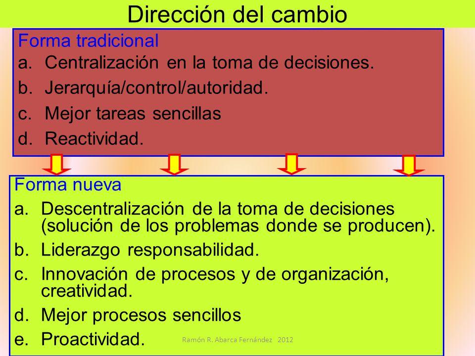 Dirección del cambio Forma tradicional a.Centralización en la toma de decisiones. b.Jerarquía/control/autoridad. c.Mejor tareas sencillas d.Reactivida