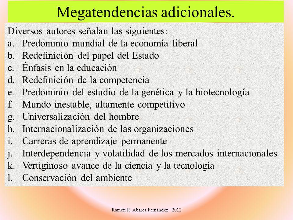 Diversos autores señalan las siguientes: a.Predominio mundial de la economía liberal b.Redefinición del papel del Estado c.Énfasis en la educación d.R