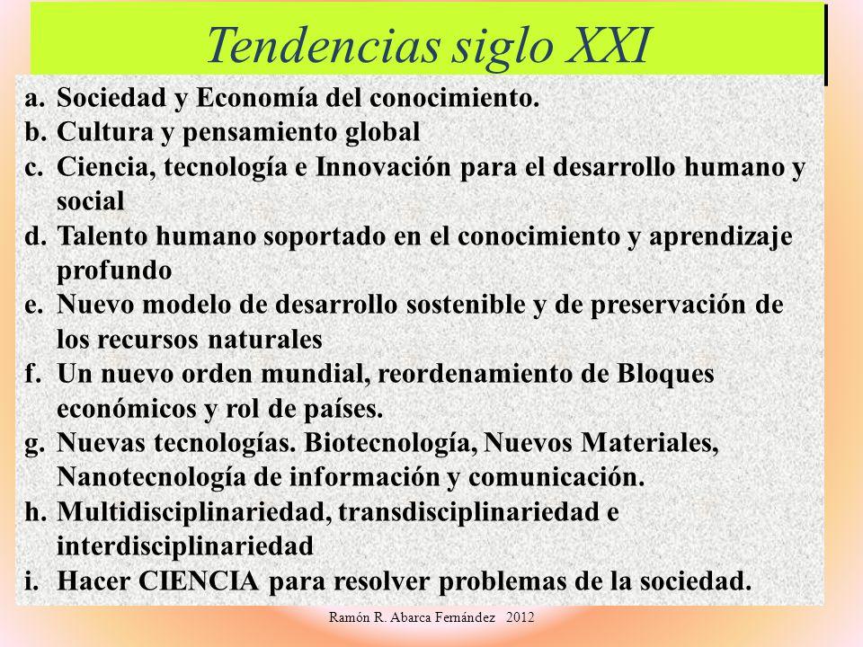 Tendencias siglo XXI Tendencias siglo XXI a.Sociedad y Economía del conocimiento. b.Cultura y pensamiento global c.Ciencia, tecnología e Innovación pa