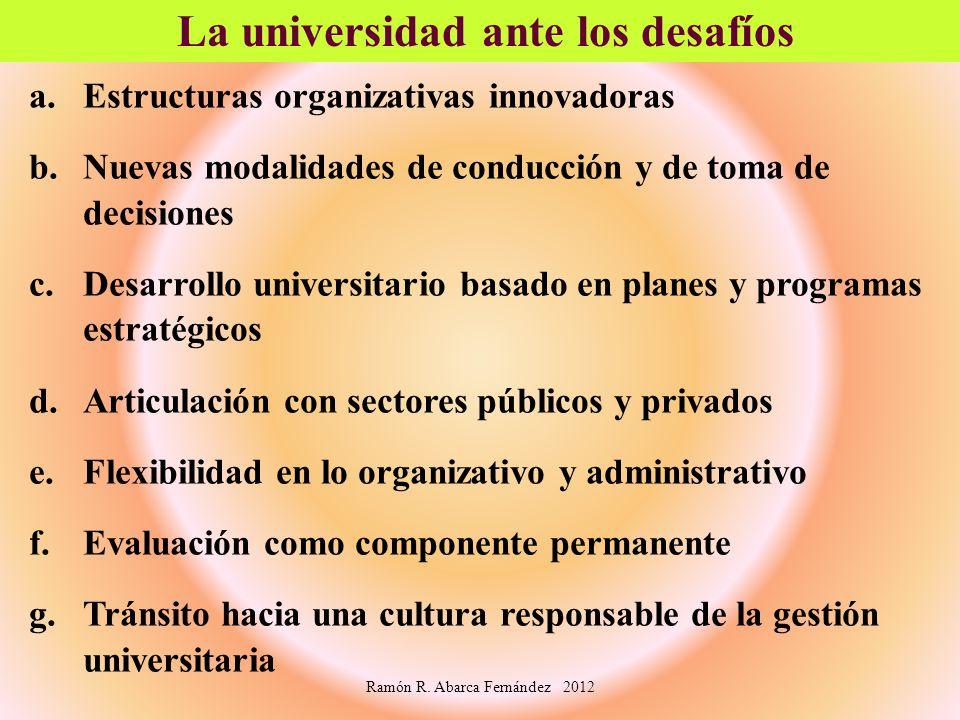 a.Estructuras organizativas innovadoras b.Nuevas modalidades de conducción y de toma de decisiones c.Desarrollo universitario basado en planes y progr