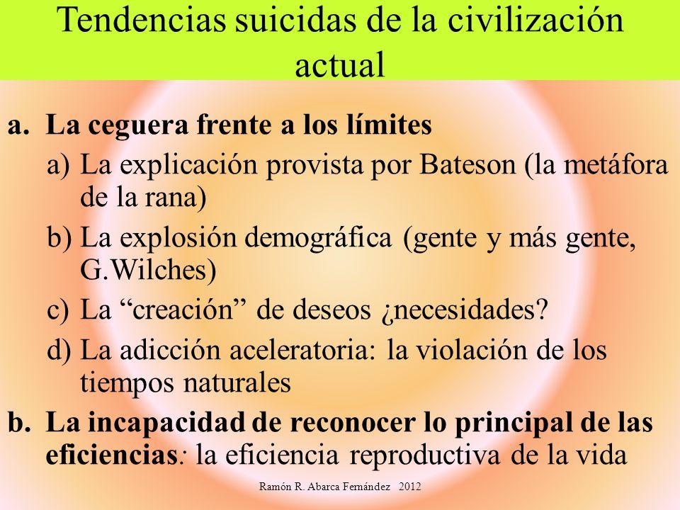 Tendencias suicidas de la civilización actual a.La ceguera frente a los límites a)La explicación provista por Bateson (la metáfora de la rana) b)La ex