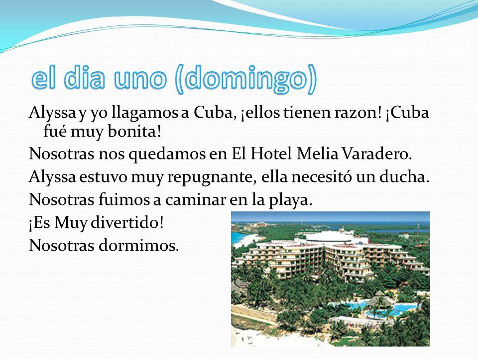 Alyssa y yo llagamos a Cuba, ¡ellos tienen razon! ¡Cuba fué muy bonita! Nosotras nos quedamos en El Hotel Melia Varadero. Alyssa estuvo muy repugnante