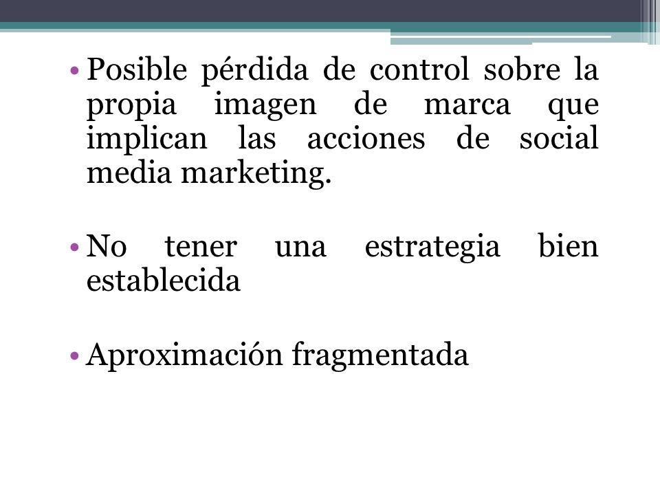 Posible pérdida de control sobre la propia imagen de marca que implican las acciones de social media marketing.