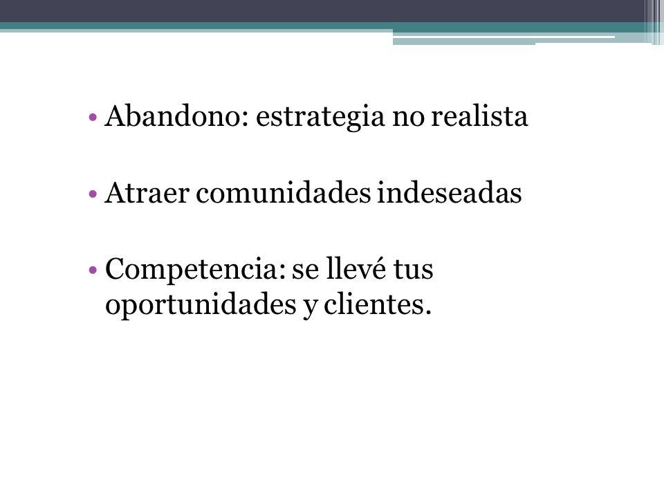Abandono: estrategia no realista Atraer comunidades indeseadas Competencia: se llevé tus oportunidades y clientes.