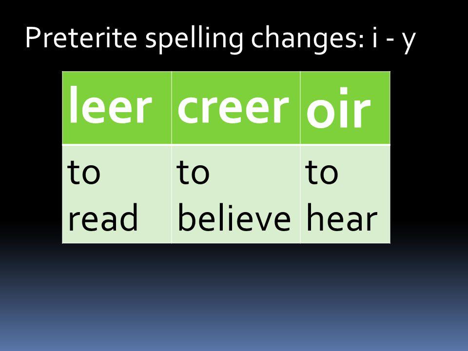Preterite spelling changes: i - y creer í iste ió imos isteis ieron