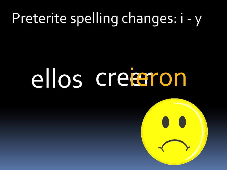 Preterite spelling changes: i - y ercreieron ellos