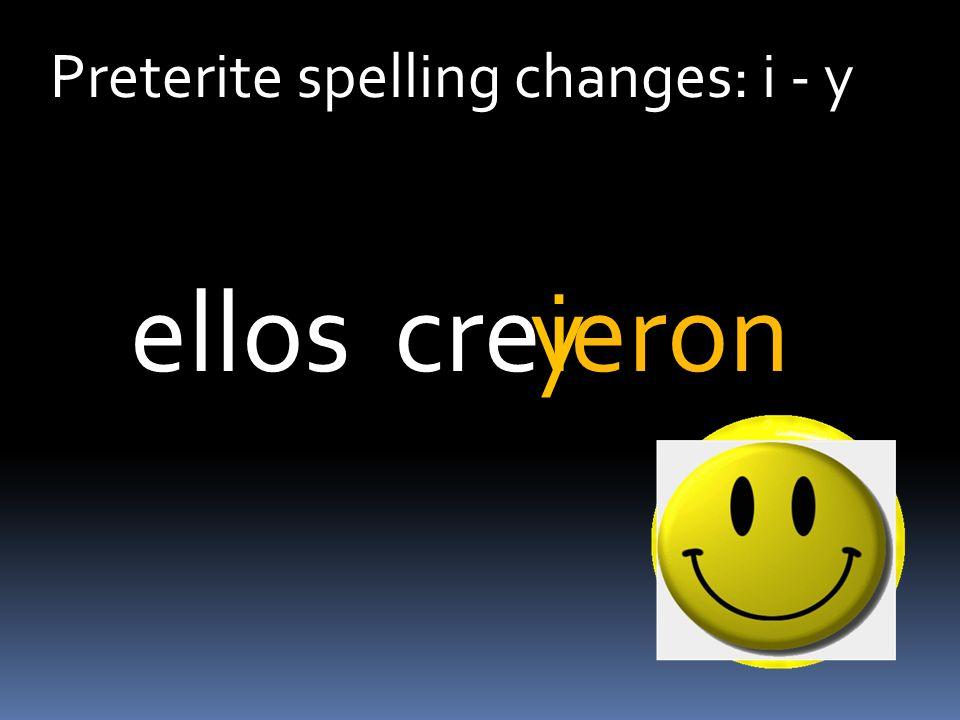 Preterite spelling changes: i - y creeronellosiy