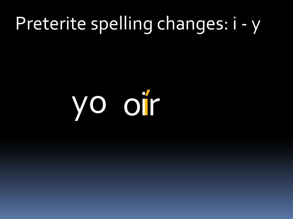 Preterite spelling changes: i - y iroí yo