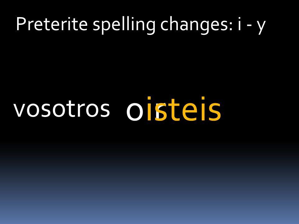 Preterite spelling changes: i - y iroisteis vosotros