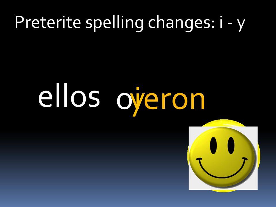Preterite spelling changes: i - y oeron ellos iy