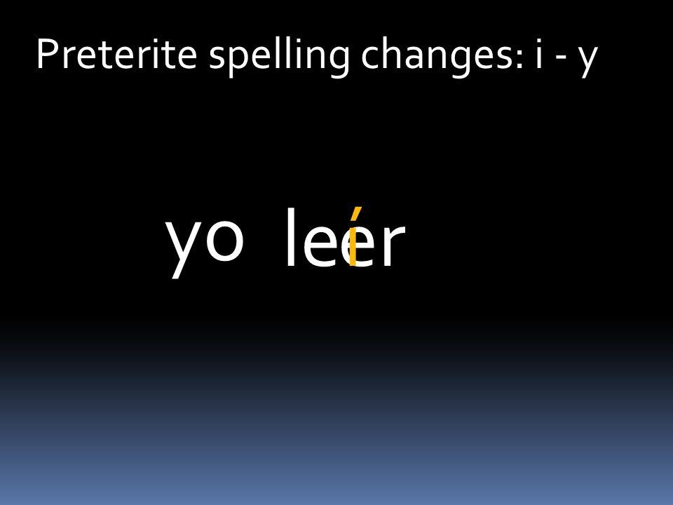 Preterite spelling changes: i - y erleiste tú