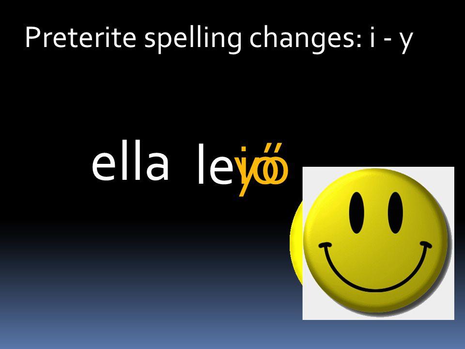 Preterite spelling changes: i - y leió ella yó
