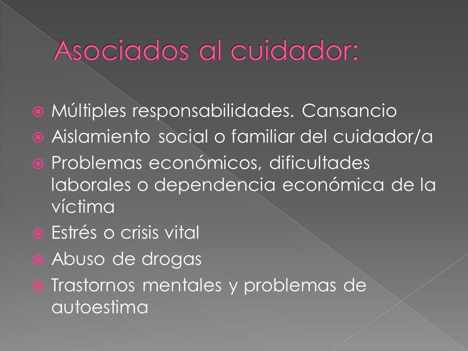 Múltiples responsabilidades. Cansancio Aislamiento social o familiar del cuidador/a Problemas económicos, dificultades laborales o dependencia económi