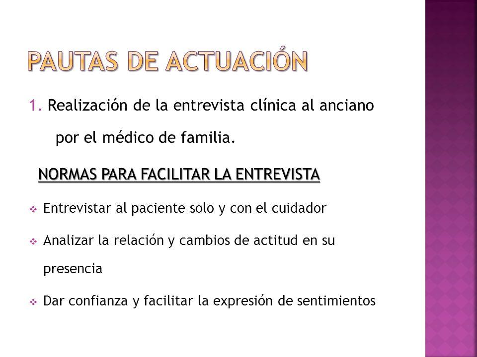 1. Realización de la entrevista clínica al anciano por el médico de familia. NORMAS PARA FACILITAR LA ENTREVISTA Entrevistar al paciente solo y con el