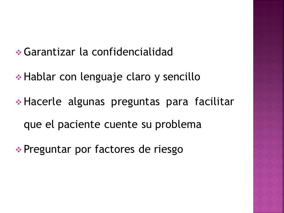 Garantizar la confidencialidad Hablar con lenguaje claro y sencillo Hacerle algunas preguntas para facilitar que el paciente cuente su problema Pregun