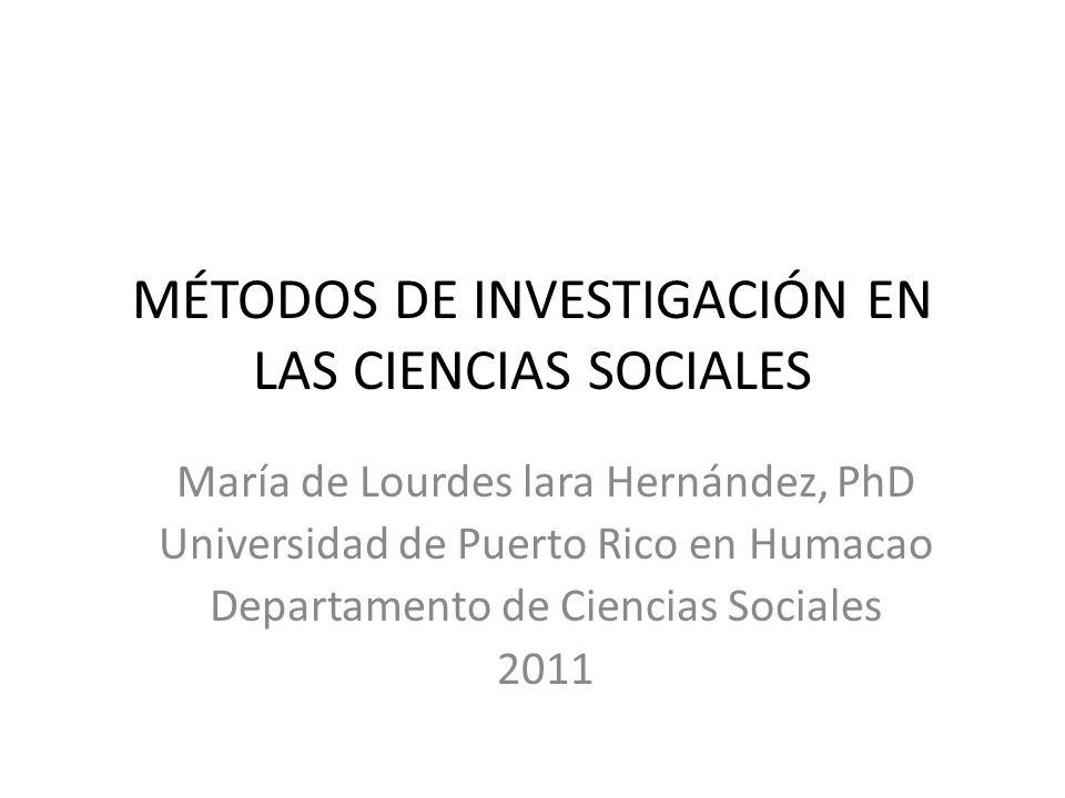 MÉTODOS DE INVESTIGACIÓN EN LAS CIENCIAS SOCIALES María de Lourdes lara Hernández, PhD Universidad de Puerto Rico en Humacao Departamento de Ciencias Sociales 2011