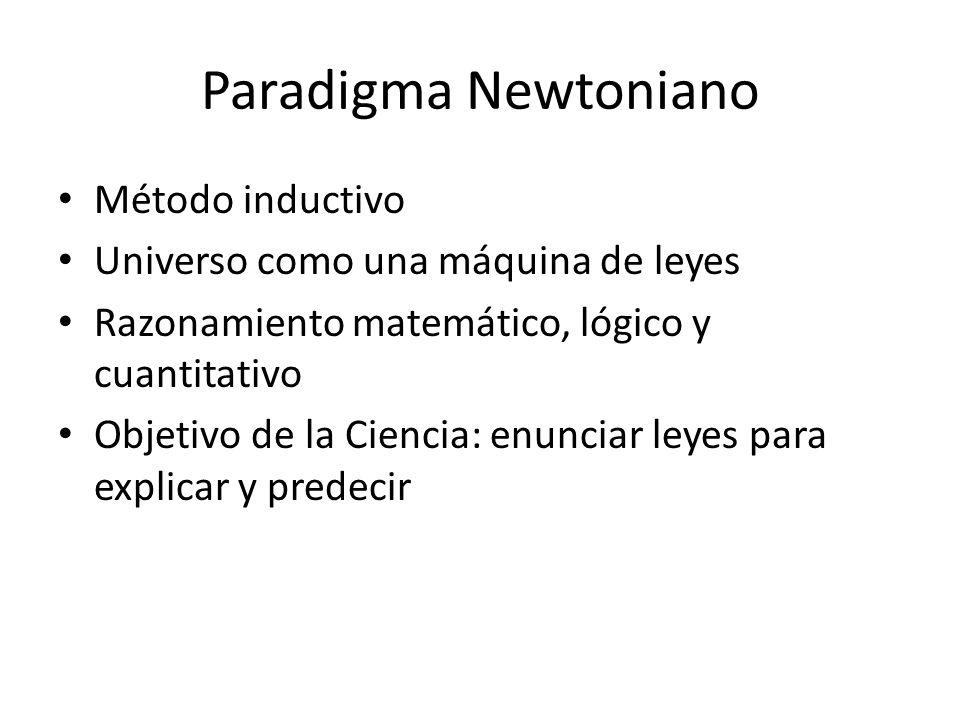Paradigma Newtoniano Método inductivo Universo como una máquina de leyes Razonamiento matemático, lógico y cuantitativo Objetivo de la Ciencia: enunciar leyes para explicar y predecir
