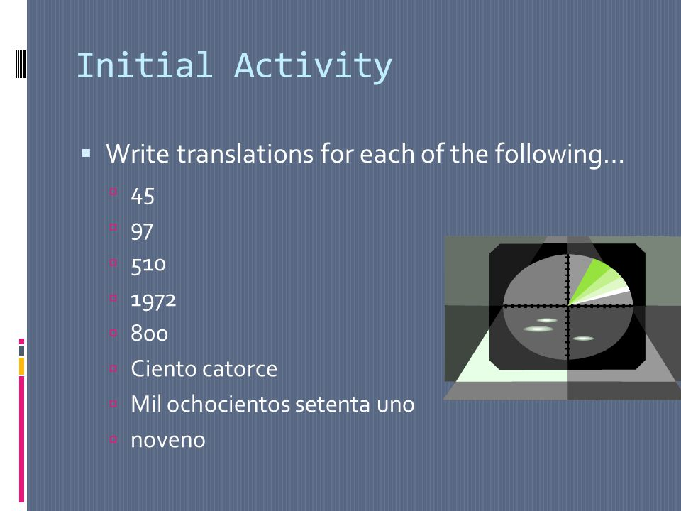Initial Activity Write translations for each of the following… 45 97 510 1972 800 Ciento catorce Mil ochocientos setenta uno noveno