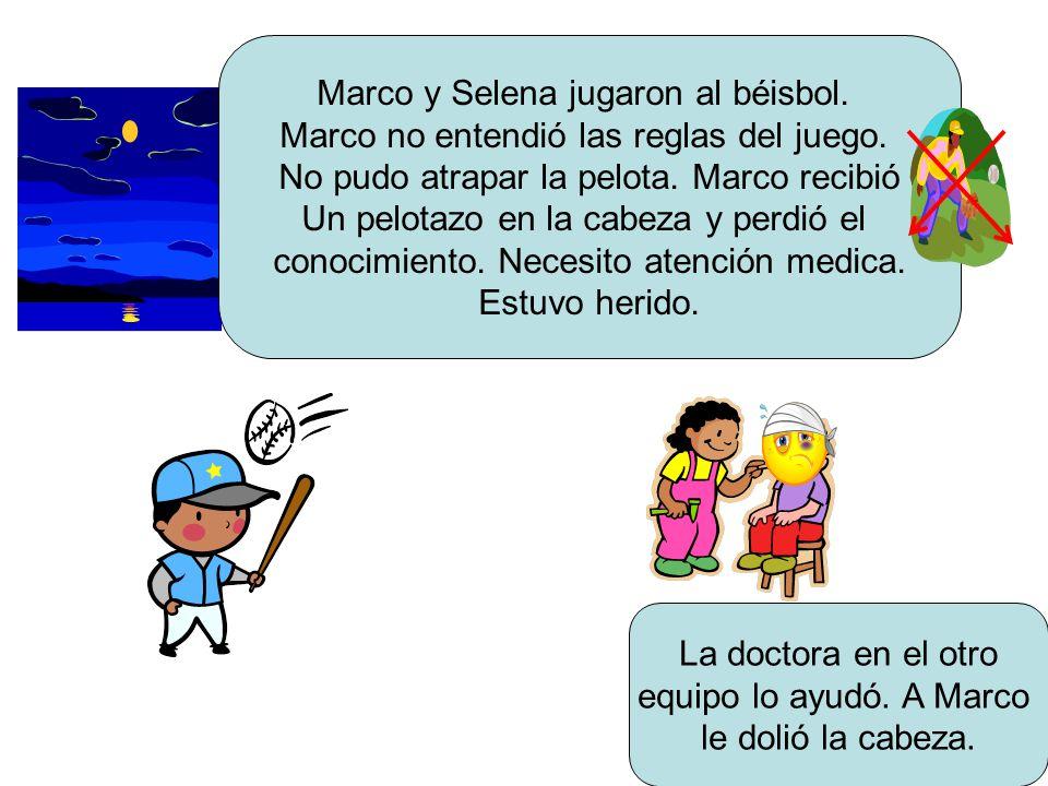 Marco y Selena jugaron al béisbol. Marco no entendió las reglas del juego.