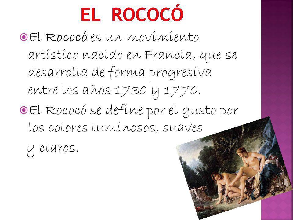El Rococó es un movimiento artístico nacido en Francia, que se desarrolla de forma progresiva entre los años 1730 y 1770. El Rococó se define por el g
