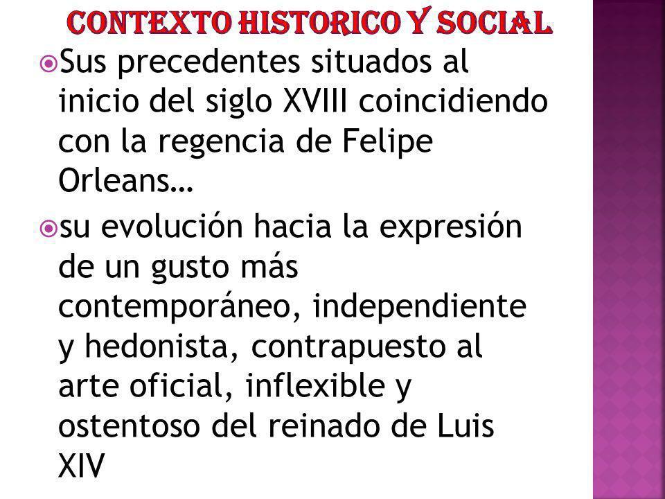 Sus precedentes situados al inicio del siglo XVIII coincidiendo con la regencia de Felipe Orleans… su evolución hacia la expresión de un gusto más con
