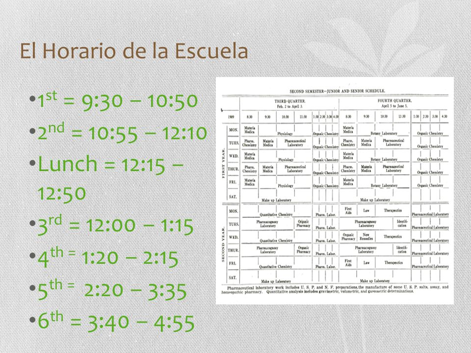 El Horario de la Escuela 1 st = 9:30 – 10:50 2 nd = 10:55 – 12:10 Lunch = 12:15 – 12:50 3 rd = 12:00 – 1:15 4 th = 1:20 – 2:15 5 th = 2:20 – 3:35 6 th = 3:40 – 4:55