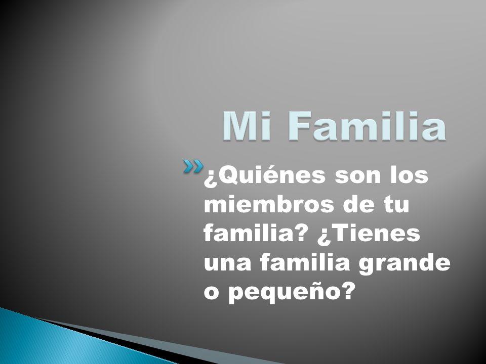 ¿Quiénes son los miembros de tu familia? ¿Tienes una familia grande o pequeño?