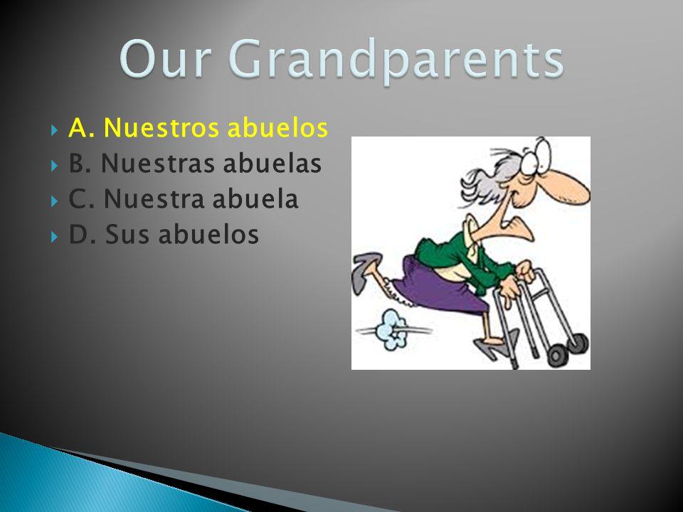 A. Nuestros abuelos B. Nuestras abuelas C. Nuestra abuela D. Sus abuelos
